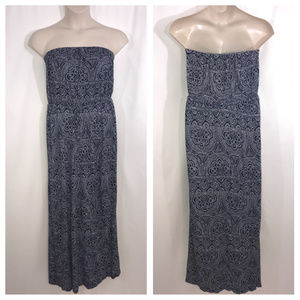Old Navy Blue and Gray Print Maxi Dress Large